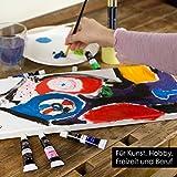 OfficeTree Acrylfarben Set 26 Tuben à 12 ml – Auf Wasserbasis – Acrylic Paint für Acrylmalerei – Für Papier, Leinwand, Holz, Stein UVM - 5