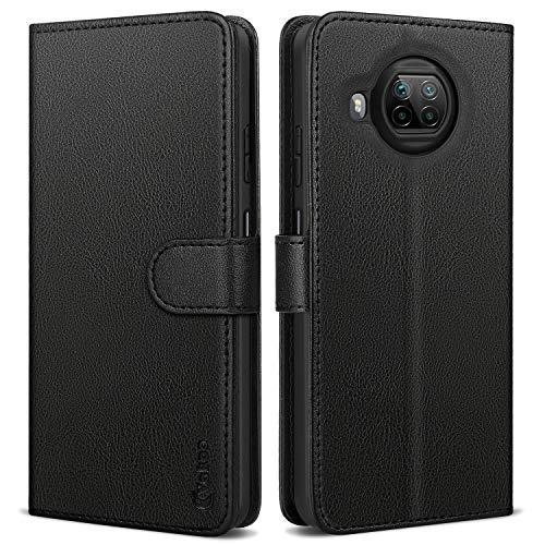 Vakoo Wallet Serie Handyhülle für Xiaomi Mi 10T Lite 5G Hülle, Premium Leder Tasche Flipcase für Xiaomi Mi 10T Lite Hülle, mit RFID Schutz, Schwarz