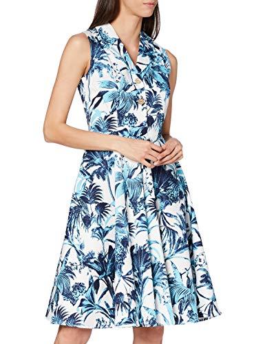 Joe Browns Damen Heavenly Hawaii Dress Lssiges Kleid, A-Weiß/Blau, 38