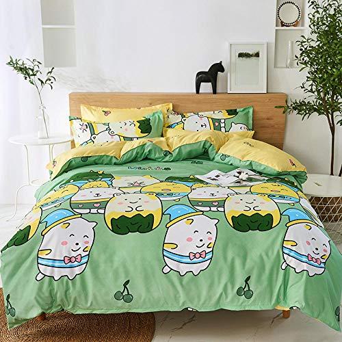 Hbvvaceo Bedding Set 3D Cartoon animal cat Double Duvet/Quilt Cover Multicolor Bedroom Decorative Bed Set Zipper Closure Easy Care 200 x 200 cm Children's bedding set-baby bedding set