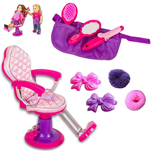 Beverly Hills Doll Collection Salon Chair for 18 Inch American Girl Dolls Fully Assembled with Apron, Cape, and 7 Hair Cutting Accessories