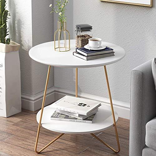 FCXBQ Home D & Eacute; COR Möbel Runder Sofa Beistelltisch mit 2-stufiger Aufbewahrung, weißer Kleiner Couchtisch für Home Office Wohnzimmer Schlafzimmermöbel, MDF Desktop, langlebige Stahlhalteru