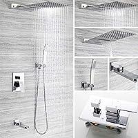 洗面蛇口 蛇口シャワー、壁掛け浴室のシンクの蛇口、スクエアステンレス製のレインシャワーセットは、暗い壁に取り付けられた組込みボックスシャワーセットをウォールマウント 水栓