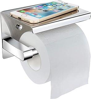 Portarrollos para Papel Higiénico,LOBKIN portarrollos baño adhesivo,Porta Rollos de Papel Higienico con el Teléfono Móvil Estante de Almacenamiento,Acero inoxidable SUS304 (plata)