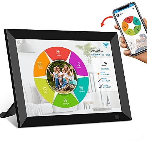 WiFi Digitaler Bilderrahmen 8 Zoll, SSA Elektronischer Bilderrahmenmit IPS Touchscreen, Automatische Drehung, können Sie Fotos und Videos über Apps 16GB Speicher