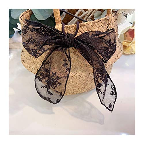 Big Sunflower Hair Hoops Girls Black And White Lace Bowknot Hairpin Pure Handmade Duck Bill Clip Female Haarband Hair Bands (Color : 02 black hair band)