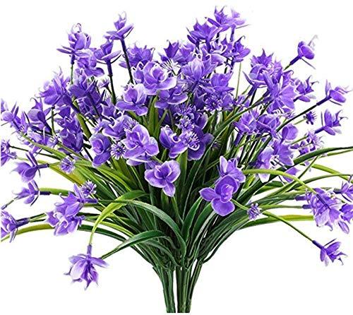 Narcisos artificiales, 4 paquetes de flores artificiales, resistente a los rayos UV, para jardín, decoración de bodas Plantas Verdes, arreglos Florales el hogar, Cocina, Comedor