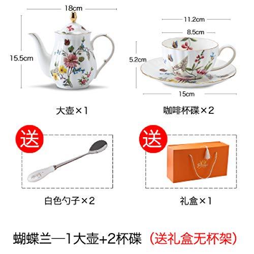 Eine Kanne, zwei Tassen, Kaffeetassenset, Bone China Teeset, Teeset für den Hofnachmittag, Hochzeitsgeschenk, Kaffeeset C 150ml