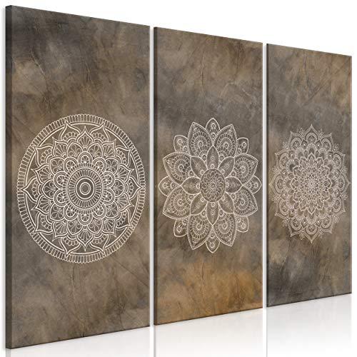 decomonkey Bilder Mandala 90x60 cm 3 Teilig Leinwandbilder Bild auf Leinwand Vlies Wandbild Kunstdruck Wanddeko Wand Wohnzimmer Wanddekoration Deko Abstrakt Orient Ornament