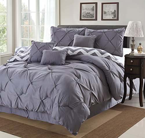 7 Piece Modern Pinch Pleated Comforter Set (Queen, Grey)