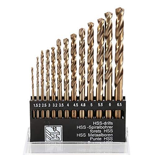 ATopoler 13pz M35 Set di Punte per Trapano Cobalto, 1.5-6.5MM Punte in Metallo HSS, Punte per Trapano in Acciaio Rapido Cobalto, Adatto per Praticare Fori in Metallo, Legno, Acciaio Inossidabile