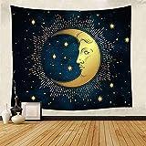 Tapiz del Sol y de la Luna Sol ardiente con Fondo de Estrellas Tela Paño para Colgar en casa Estera de Playa Europea y Americana