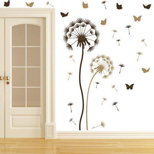 Wandtattoo Pusteblume Set braun/Hellbraun - sowie 10 Schmetterlinge und 21 Flugsamen - Große Blume 100 x 30cm, kleine Blume 70 x 25cm