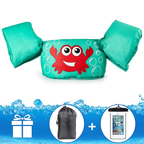 JEVDES Schwimmflügel Puddle Jumper, für Kinder und Kleinkinder von 2-7 Jahre, 15-25kg, Schwimmhilfe mit verschiedenen Designs für Jungen und Mädchen (Krabbe)