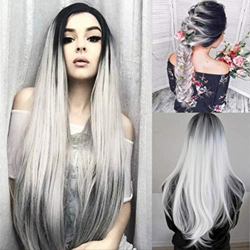 Nouvelle Mode Moyenne Longue Cheveux Bouclés Teints Perruque Réaliste Visage Réparation Papier Net Perruque
