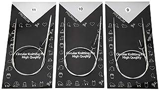 HEEPDD Aiguille à Tricoter Circulaire, 11pcs 43 65 80CM Aiguilles à Tricoter circulaires en Acier Inoxydable Crochet Croch...