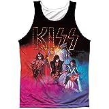 Kiss Camiseta sin mangas con impresión frontal de color ahumado de la banda de rock icónica