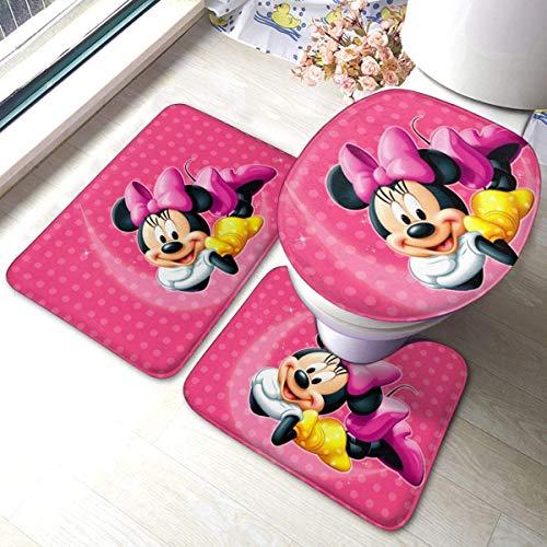 Badematten-Set, 3-teilig, Flanellteppich, rutschfeste Unterseite, Badematten für Badezimmer, Schlafzimmer, Küche, schöne Minnie Mickey Mouse (90,2 x 59,9 cm)