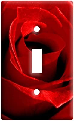 Red Rose Closeup Plastic Wall Decor Toggle Light Switch Plate Cover