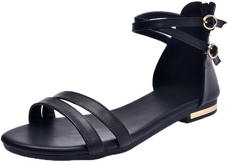 WeiPoot Women's Zipper Pu Open-Toe Low-Heels Solid Sandals
