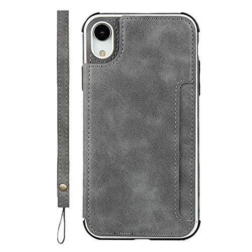 GIMTON Coque iPhone XR, Antichoc Coque Arrière en PU Cuir y TPU, Portefeuille Housse avec Fonction Stand y Sangle à Main pour iPhone XR, Gris