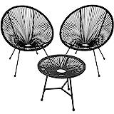 TecTake 800730 2 Fauteuils Acapulco de Jardin de Salon Design rétro, avec 1 Table, pour Un Usage en intérieur et extérieur - Plusieurs Couleurs - (Noir | no. 403307)