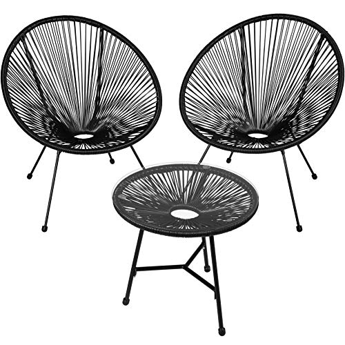 TecTake 800730 Set of 2x Chairs Acapulco with Table, 3 PCS, Circular...
