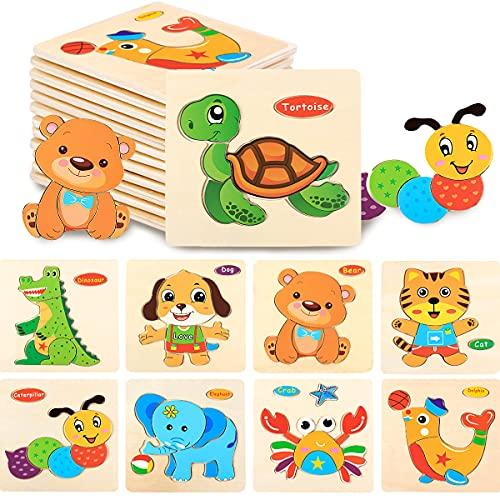 Rompecabezas De Madera Niños, Senteen 9pcs Puzzles De Madera Educativos Rompecabezas De Animales Coloridos Puzzle Preescolar Puzzle Infantil De Madera Precioso Wooden Jigsaw Puzzles Regalos Para Niños