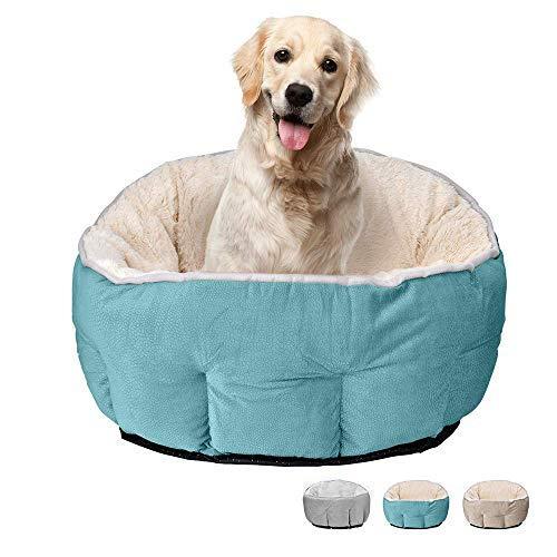 Cama para perros y gatos, cueva para mascotas, nido, extraíble, agujero para gato, suave, redonda, color azul claro