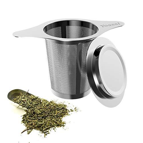 Yoassi Premium Teesieb mit Deckel und Doppel-Griff, Edelstahl Teefilter für Tasse/Teekanne/Töpfe/Tee-Schalen - Ø 60mm