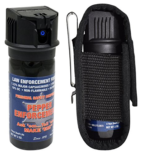 Pepper Enforcement PE510MF-FT Fogger Pepper Spray + Tactical Metal Clip Holster for Self Defense - Maximum Strength 10% OC Police Grade Formula - Non Lethal Personal Safety & Protection
