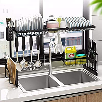 MICOE Over The Sink Dish Drying Rack for Kitchen Supplies Storage Counter Organizer Utensils Holder Stainless Steel Display- Kitchen Space Save Must-Have?Black from
