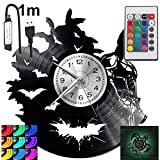Batman RGB LED Pilot Reloj de pared para mando a distancia, disco de vinilo, moderno, decorativo para regalo de cumpleaños