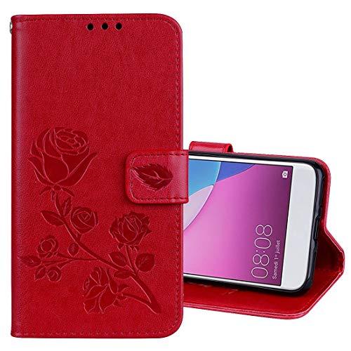 GGQQ YDYX AYDD para Huawei P9 Lite Mini Rose en Relieve Caja de Cuero de la PU de la PU con el Soporte y Las Ranuras y la Cartera (Verde) (Color : Red)