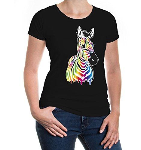 buXsbaum® Damen Girlie Kurzarm T-Shirt Afrikanisches Wildpferd Afrika Savanne gestreiftes Motiv Pferd | L Black-z-Direct Schwarz