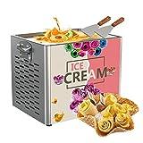 Máquina eléctrica para hacer rollos de helado con raspador Máquina para hacer yogurt frito Máquina para hacer rollos de hielo de acero inoxidable, perfecta para tiendas de postres, 300 * 250 mm