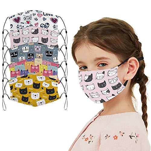 5 Pcs Big Kids Bandana with Cute Pattern Reusable Cloth Cat Kids Face Mask Bandanas Covering Set for Teens Boys Girls Ages 6-16