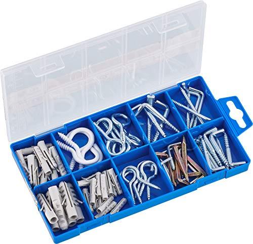 Connex Schraubhaken-Sortiment 78-teilig - Diverse Haken & Dübel im Set - Vorsortiert in praktischer Kunststoffbox - Geeignet für Aufhängungen aller Art / Haken-Set / Sortimentskasten / DP8500005