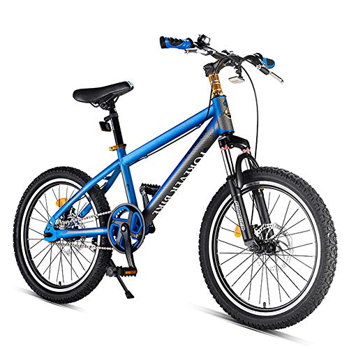 NENGGE Kids Mountain Bikes, High-carbon Steel Hardtail Anti-Slip Bike, Dual Disc Brake Mountain Trail Bike, Jongens Meisjes Alpine Fiets, Blauw, 18 Inch