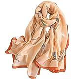 LD Pañuelos Cuello Mujer Seda de Imitacion Fulares Satén Estolas Regalo 180 * 90 cm Verde acuatico