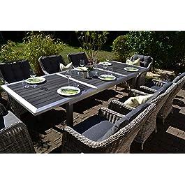 Bomey Stockholm Ensemble de 8 fauteuils en Acier Inoxydable avec 8 fauteuils en rotin Gris et Coussins Gris I Table…