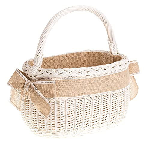 Boda Cesta de mimbre, Retro–Cesta con asa en beige, estilo vintage, cesta de mimbre ovalada