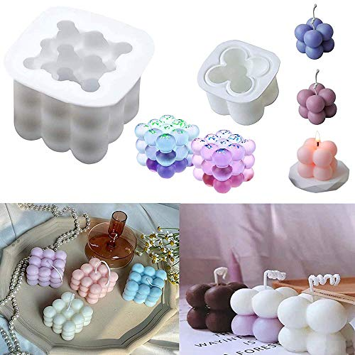 3D Rubik Cube Soy Silicone Candle Soap Making Moulds Cake Decorating Silicone Fondant Mould Bakeware Muffin Jelly Tray Chocolate Candy Baking Mould for Party Decoration Sugarcraft DIY Pack of 2