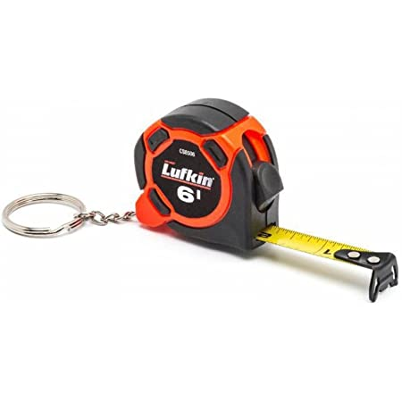 "Crescent Lufkin 1/2"" x 6' Mini Hi-Viz Orange Yellow Clad Keychain Tape Measure - Counter Display - CS8506"