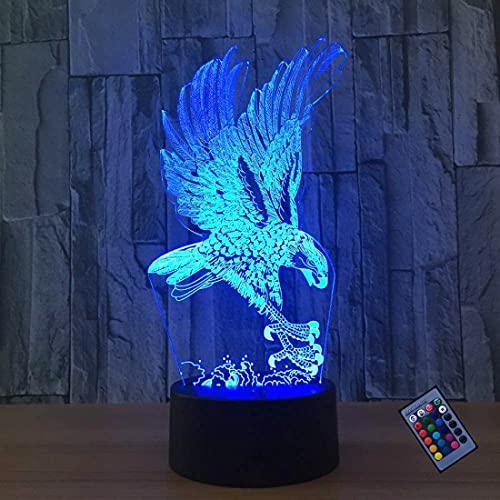Ilusión óptica 3D Águila Luz de Noche 16 Colores que Cambian Control Remoto USB Poder Touch Switch Decor Lámpara LED Mesa Lámpara Niños Juguetes Cumpleaños Navidad Regalo