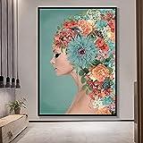 Hermosa imagen 50x70 cm sin marco flores de colores mujer cabeza retrato nórdico cartel abstracto arte imagen sala de estar decoración del hogar