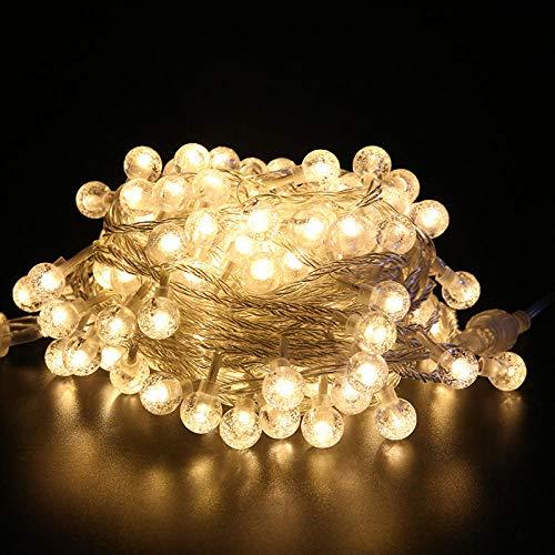 Powzz ornament Bola de cristal LED, cuerda de burbujas, bola redonda, lámpara decorativa, vacaciones, luz blanca cálida, 80 grados, luces de 10 metros, tipo de batería