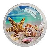 qfkj Tirador de la Perilla del cajón 4 Piezas El cajón del gabinete de Vidrio de Cristal Tira Las perillas del Armario,Conchas en la Playa Blanca de Verano