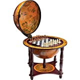 Kassel 13' Diameter Globe with 57pc Chess and Checkers Set