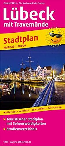 Lübeck mit Travemünde: Touristischer Stadtplan mit Sehenswürdigkeiten und Straßenverzeichnis. 1 : 18 000 (Stadtplan / SP)